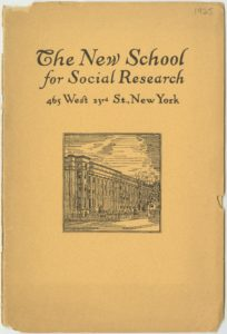 Example from the New School Archives' digital collections: Informational pamphlet from 1925