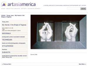 """Sample page from artasiamerica: Jane Tsong's """"My Hands in the Shape of Vaginas"""""""