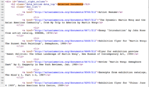Excerpt of source code from Martin Wong's profile page