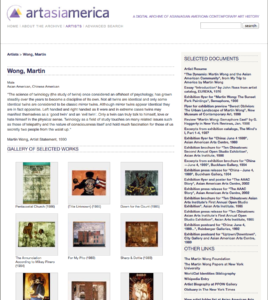 Martin Wong's profile page on artasiamerica