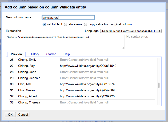 Settings for adding a new column that extracts the ID and creates a well-formed URI.