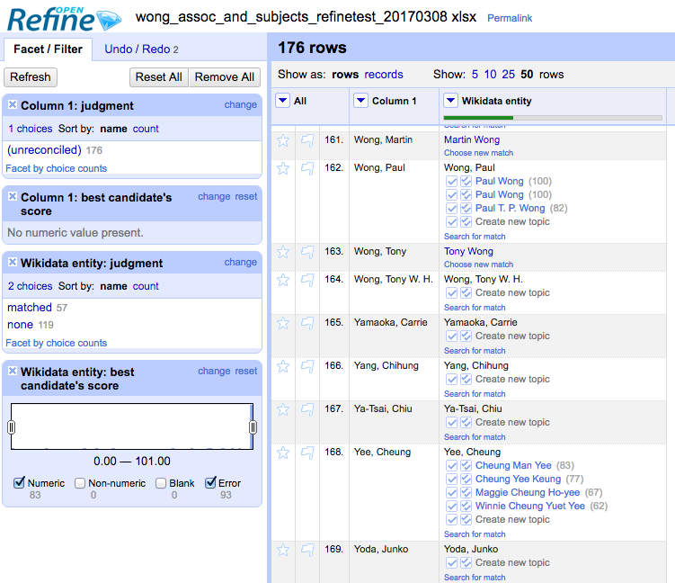 "This screenshot shows the three types of results: ""Wong, Martin"" was matched with a high level of confidence and appears first name first in your new column as is the convention on Wikidata. ""Wong, Paul"" returned several suggestions to choose from. ""Yamoka, Carrie"" returned no matches."